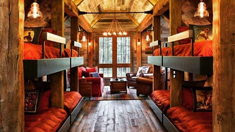 Bunk Beds in Log Cabin Style Guest Room