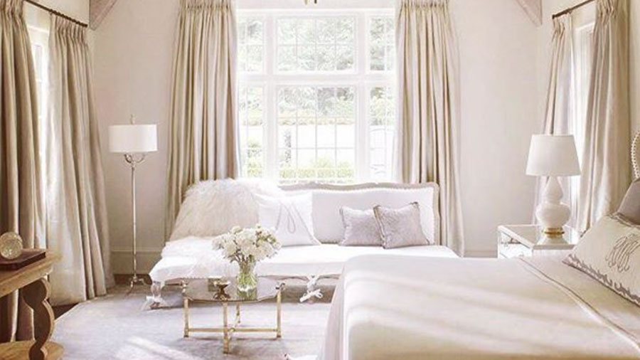Cream and white colored bedroom
